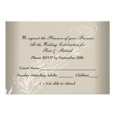 Coffee Cream Popular Wedding  RSVP Invite