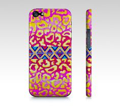 TRIBAL LEOPARD in PINK  Choose #iPhone 4 4S or 5 5S 5c case by EbiEmporium, $40.00 #pretty #feminine #chic #aminal #print #pattern #tribal #aztec #native #leopard #wildcat #nature #art #fineart #colorful #girlie #geometric #bubblegum #hotpink #pastel #yellow #lovely #whimsical #stylish #case #cover #tech #device