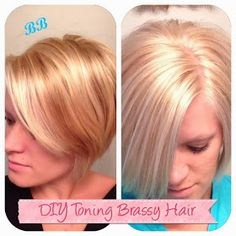 Busy Blondes: DIY: Toning Brassy Hair use for really brassy hair Brassy Blonde, Brassy Hair, Blonde Shades, Beauty Tips For Hair, Beauty Hacks, Hair Beauty, Beauty Secrets, Beauty Products, Toner For Orange Hair