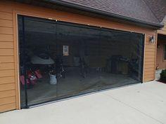 Zip-Roll brand 16x8Garage door roll up screen | Etsy Cedar Garage Door, Roll Up Garage Door, Wooden Garage Doors, Glass Garage Door, Roll Up Doors, Garage Door Screens, Black Garage Doors, Garage Entry, Home