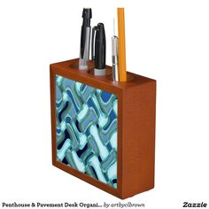 """The Penthouse & Pavement Desk Organizer designed by Artist C.L. Brown features an abstract kinetic light painting design enhanced with Photoshop. Keep your desk neat and tidy with a unique, artist-designed desk organizer. Great for keeping clutter contained! Organizer is made of wood with a mahogany finish and is printed front and back on two 4.25"""" white ceramic tiles. Designed with three compartments and dimensions of 5"""" l x 5"""" w x 1.75"""" d."""