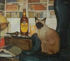 Vintage Whiskey ad - Calvert Whiskies, Siamese cat, library study liquor print man cave decor wall art or collectible.