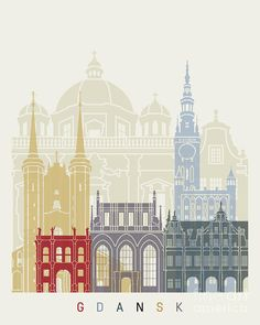 / gdansk / skyline poster / illustration / painting by pablo romero / Pixel City, Poland Cities, Travel Wall Art, Skyline Silhouette, City Vector, Collages, Poland Travel, Architectural Prints, Playground Design