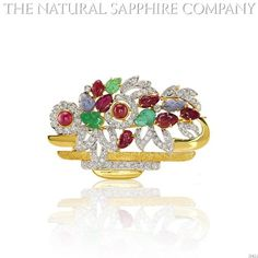 Natural Ruby, Emerald and Sapphire Brooch with diamond 1.15ct. Diamonds. (J3421) | Your #1 Source for Jewelry and Accessories