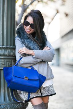 Blue Day :: Cozy sweatshirt & Tweed skirt :: Outfit :: Top :: Marissa Webb sweatshirt, Dion Lee shirt Bottom :: Rag & Bone Bag :: Celine Shoes :: Capodarte Accessories :: Karen Walker sunglasses, Wanderlust + Co ring Published: January 14, 2015