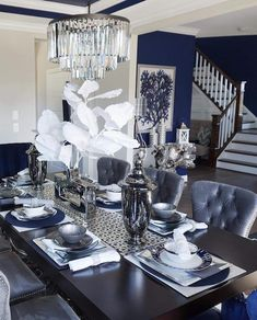 Dress Blues paint color SW 9176 by Sherwin-Williams. View interior and exterior paint colors and color palettes. Get design inspiration for painting projects. Blue Dinning Room, Silver Living Room, Blue Living Room Decor, Dining Room Table Decor, Elegant Dining Room, Luxury Dining Room, New Living Room, Dining Room Design, Formal Living Rooms