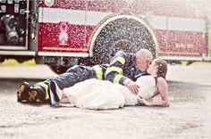 firefighter wedding pic