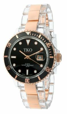 TKO ORLOGI Women's TK500-RB Venezia Steel Rosegold Plastic Case and Bracelet Watch TKO. $150.00. Water-resistant to 99 feet (30 M). Luminous markers. Rose gold plated steel center links. Enlarged date window; Screw down crown. Adjustable clasp and easily removable links