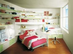 Kids Room Pretty Pink Bedroom E Saving Furniture With Cover Bed Also Book Shelevs Around The Wooden Base Of Floor Then