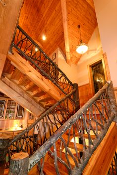 Country House Plan Stairs Photo - Taos Luxury Mountain Home