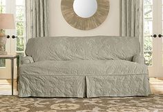 Sure Fit Slipcovers Matelasse Damask One Piece T Cushion   Sofa T Cushion