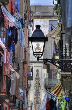 Colourful street scene of El Raval, Barcelona, April 21, 2007
