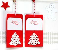 """6 étiquettes cadeaux avec sapin en bois blanc et carte """"Joyeux Noël"""""""
