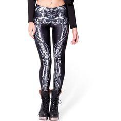 Choies Black Contrast Skeleton Print Leggings (96 NOK) ❤ liked on Polyvore featuring pants, leggings, black, skeleton print leggings, black trousers, x ray leggings, xray leggings and black pants