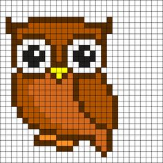 Owl Perler Bead Pattern More Mais Cross Stitch Owl, Cross Stitch Animals, Cross Stitch Designs, Cross Stitching, Cross Stitch Embroidery, Cross Stitch Patterns, Owl Patterns, Bead Loom Patterns, Perler Patterns