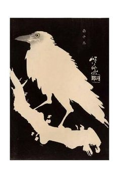 'Crow in Snow.' Woodblock print by Kawanabe Kyôsai (Gyôsai) Image and text courtesy MFA Boston. Crow Art, Raven Art, Bird Art, Gravure Illustration, Illustration Art, Japanese Painting, Japanese Art, Art Japonais, Bird Silhouette