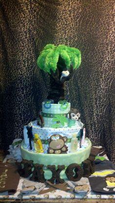 Monkey diaper cake Safari Diaper Cakes, Monkey Diaper Cakes, Baby Shower Gifts, Baby Gifts, Shower Ideas, Desserts, Tailgate Desserts, Deserts, Shower Gifts