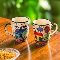 And this set of two mugs that have the same artsy vibe and will go perfectly with the bowls above - ₹695 - Good News Indians  IMAGES, GIF, ANIMATED GIF, WALLPAPER, STICKER FOR WHATSAPP & FACEBOOK