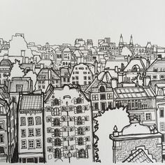 A closeup of Amsterdam #art #drawing #pen #sketch #illustration #Amsterdam #thenetherlands #holland #city #cityscape #architecture #buildings