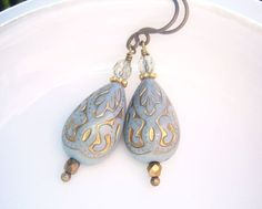 Blue and Gold Ornate Earrings Teardrop Beads Titanium
