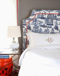Pin Whym of the Week - Love this headboard - can't go wrong with red, white, and blue! {Preppy Empty Nester}