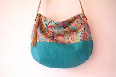 RESERVED Turquoise linen cross body bag, Liberty fabric handbag, Colorful bag…