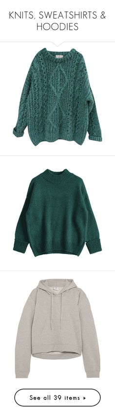 """KNITS, SWEATSHIRTS & HOODIES"" by mydntkrl ❤ liked on Polyvore featuring tops, sweaters, shirts, jumpers, oversized chunky knit sweater, woolen sweater, oversized green sweater, oversized long sleeve shirt, green sweater and clothing - ls tops"