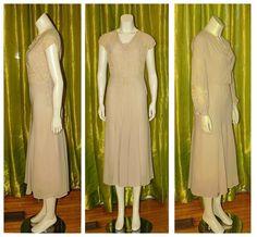 dedd165ef61c Vintage 1930's Sheer SILK CREPE & Embroidered NET LACE Bias Cut Dress Bolero