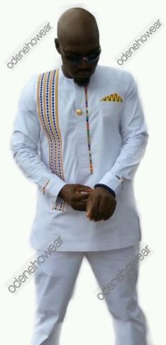 Odeneho Wear Men& Polished Cotton Top/Embroidery And Kente. African Tops, African Wear, African Dress, African Clothing For Men, African Men Fashion, African Clothes, Ghana Fashion, Ankara Fashion, Men's Fashion