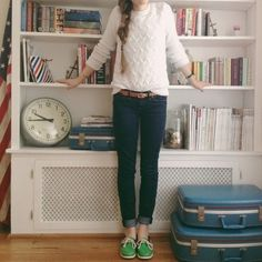 sweater with dark wash jeans and colorblock sperrys