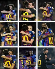 Embraces (from left to right, up to down, Messi with Puyol, Xavi, Villa, Cesc, Iniesta, Abidal, Alexis, Keita & Piqué) Club Football, Football Memes, Barcelona Team, Barcelona Football, Messi Soccer, Messi 10, Lionel Messi Quotes, Lionel Messi Wallpapers, Leonel Messi