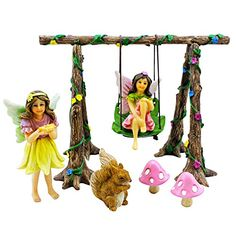 Outdoor Décor-Pretmanns Miniature Fairy Garden Swing Set  Accessories Kit with Figurines Avie and Stella * Read more reviews of the product by visiting the link on the image.