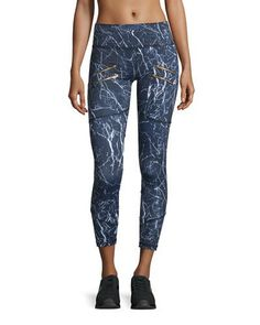 I0TAG Varley Palms Zip-Detail Compression Running Tights, Navy Marble