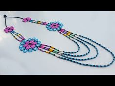 Beaded Flowers Patterns, Beaded Necklace Patterns, Crochet Necklace, Beading Tutorials, Seed Beads, Handmade Jewelry, Jewelry Design, Bangles, Jewels