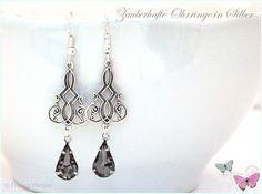 Ohrhänger - Art Deco Vintage Ohrhänger Tropfen silber grau - ein Designerstück von Zauberhafte-Ohrringe-in-Silber bei DaWanda