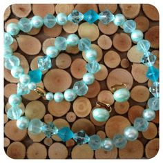 Ocean Blues---TEMPT by Ali on Etsy - turquoise set of 5 fabric beads handmade with white lace