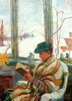 Lezende figuur bij sneeuw Edith Elizabeth Pijpers