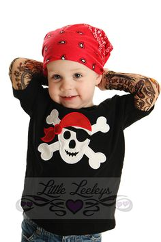 Tattoo Sleeve Shirt with Pirate Skull applique for by TotTude, $35.00