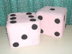 Pink Fuzzy Dice Throw Pillows . Pair O' Dice by ToHellinAHandbag, $65.00