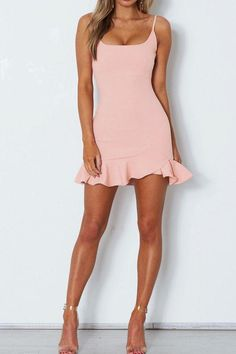 Shop Spaghetti Strap Curved Mini Dress at victoriaswing, personal womens clothing online store! high quality, cheap and big discount, latest fashional style! Homecoming Dresses Tight, Hoco Dresses, Pretty Dresses, Casual Dresses, Fashion Dresses, Summer Dresses, Short Tight Dresses, Fashion Clothes, Prom Dress