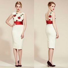 A Hepburn inspired pencil dress with a vintage feel, the embroidered red roses of our Riviera Cream Pencil Dress make it perfect for Valentine's #fashion #style #elegant #chic #classic #sophisticated #retro #vintage #floral #roses #embroidery #SS16 #newin #ValentinesDay #theprettydress #theprettydresscompany