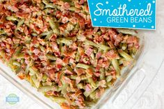 Smothered Green Beans - This recipe is SO EASY but makes the BEST green beans you've ever eaten! Smothered in bacon, brown sugar, and soy sauce, you know they're good! My Favorite Food, Favorite Recipes, The Best Green Beans, Veggie Heaven, Green Bean Recipes, Vegetable Sides, Easy Salads, Soy Sauce, Brown Sugar
