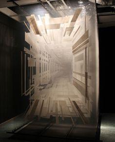 David Spriggs: Holocene, 2011 - installation - acrylic on layered transparent film, metal bar, springs, lights