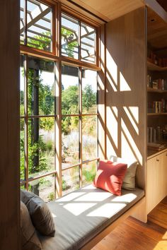 Modern home with Living Room and Bench Country Garden House Olson Kundig Photo 13 of Country Garden House Modern Windows, Modern Window Seat, Loft, Casa Real, Bookshelves Built In, Cozy Nook, Garden Seating, House And Home Magazine, Inspired Homes