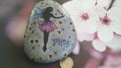 Fairy Magic- handstamped garden stone via Etsy