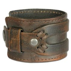 SilberDream Leather Bracelet antic brown with rivets and other adornments - fits up to 8'' - for Man or Woman Leather Bracelets genuine Leather LA4293B:Amazon:Jewellery
