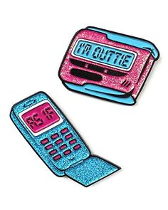 Clueless - Cell Phone & Beeper Pin Set-Strange Ways-Strange Ways