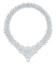 AN IMPORTANT DIAMOND NECKLACE  OF V-SHAPED DESIGN, THE FRONT SET WITH A PEAR-SHAPED DIAMOND WEIGHING APPROXIMATELY 4.07 CARATS, TO THE PEAR, MARQUISE AND BRILLIANT-CUT DIAMOND PLAQUE, THE GRADUATED CLUSTER BAND OF SIMILAR DESIGN, MOUNTED IN PLATINUM, 37.2 CM LONG