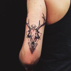 Deer Skull Tattoo | Done by Brandon Huckabey of Denver, CO