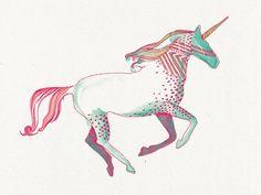 Unicorn Temporary Tattoo by deKrantenkapper on Etsy